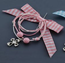Witness pins with chequered ribbon 50pcs / Μαρτυρικά με καρό κορδέλα - Ροζ 50τμχ